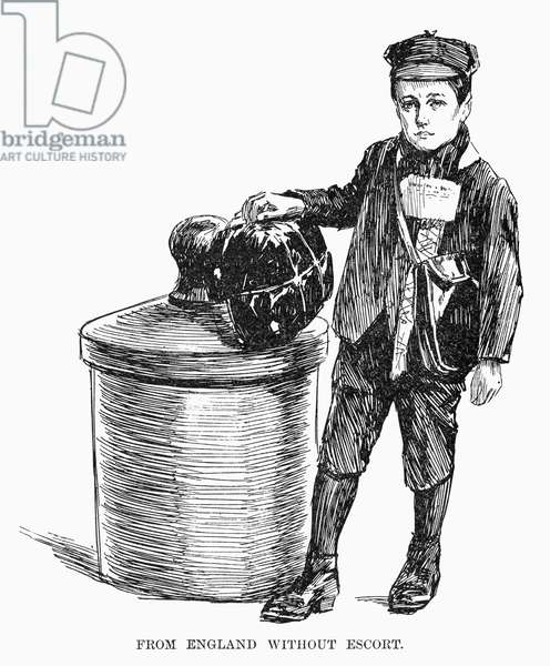 IMMIGRANT: ENGLISH BOY A boy who has traveled alone from England to New York at Ellis Island Immigrant Station. Wood engraving, American, 1892.