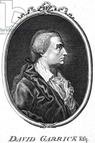 DAVID GARRICK (1717-1779) English actor, producer, and dramatist. Copper engraving, English, late 18th century.