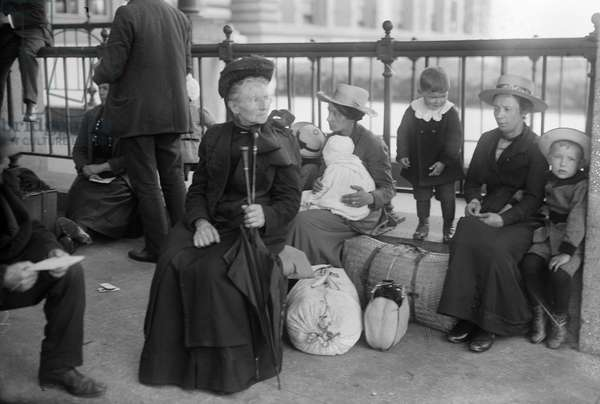 ELLIS ISLAND, c.1910 A Dutch family at Ellis Island. Photograph, c.1910.