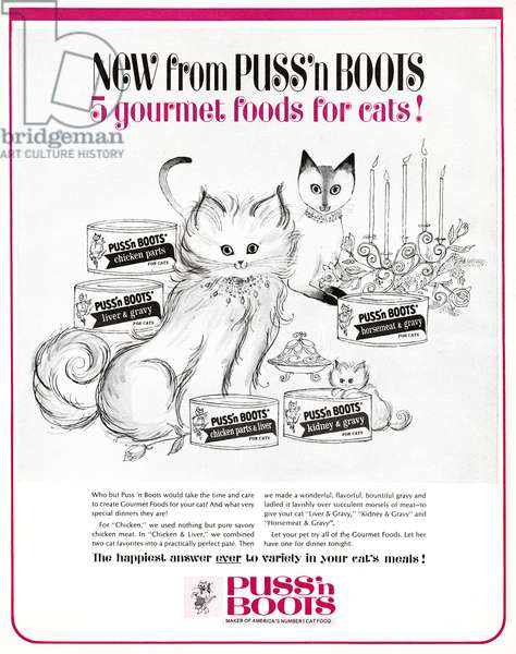 AD: CAT FOOD, 1964 American advertisement for Puss 'n Boots cat food. Illustration, 1964.