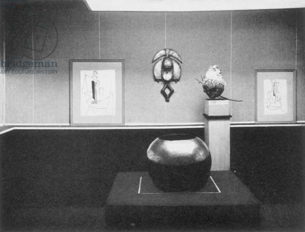 STIEGLITZ GALLERY, NYC, 1914 Part of an exhibition held in 1914 at Alfred Stieglitz's 291 Gallery, on Fifth Avenue in New York City. Pictured: African art, as well as art by Picasso and Braque. Photographed by Alfred Stieglitz.