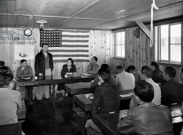 JAPANESE INTERNMENT, 1943 Town hall meeting at the Manzanar Relocation Center at Owens Valley, California. Photographed by Ansel Adams, 1943.