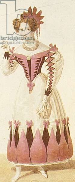 BARBER OF SEVILLE Costume design for the character of Rosina from Gioacchino Rossini's opera 'The Barber of Seville'. Line engraving, c.1825.