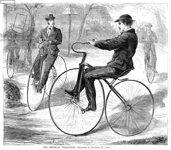 VELOCIPEDES, 1868 American men riding velocipedes. Wood engraving, American, 1868.