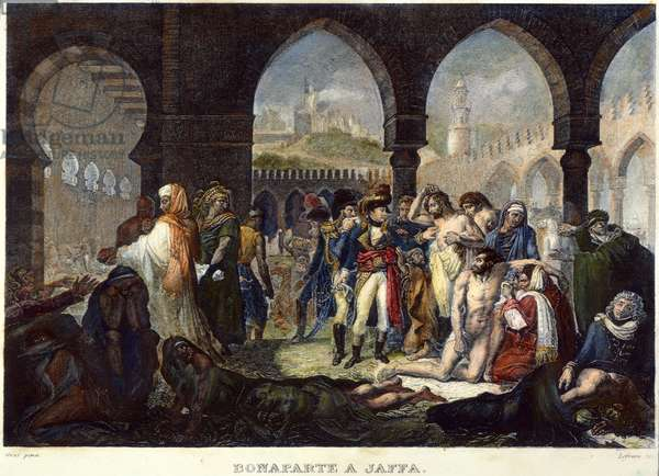 NAPOLEON IN JAFFA, 1799 'Napoleon Bonaparte Visiting the Plague Stricken at Jaffa.' Color steel engraving after a painting by Baron Antoine-Jean Gros, 1804.
