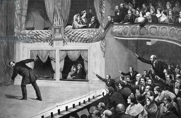 LINCOLN ASSASSINATION The assassination of President Abraham Lincoln by John Wilkes Booth at Ford's Theatre, Washington, D.C., 14 April 1865. Line engraving, American, 1891.