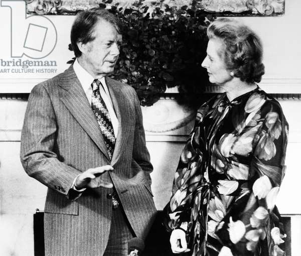 CARTER AND THATCHER, 1977 U.S. President Jimmy Carter meeting with British Conservative Party leader Margaret Thatcher at the White House in Washington, D.C., 13 September 1977.