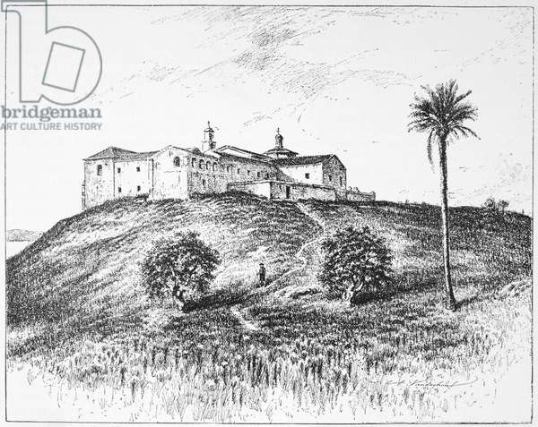 COLUMBUS: LA RABIDA, 1492 The convent of La Rabida at Huelva, Spain, where Christopher Columbus and his son Diego sought lodging shortly before Columbus sailed for the New World in 1492. Engraving, 1892.