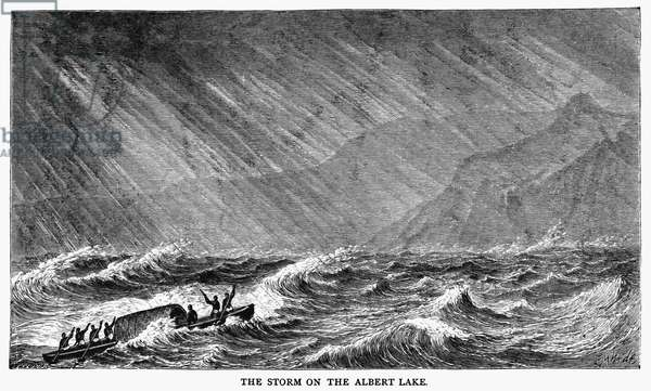 SAMUEL WHITE BAKER (1821-1893). English explorer. Baker and his crew encountering a storm on Lake Albert in western Uganda, 1864. Wood engraving, English, 1866, after Edmund Morison Wimperis.