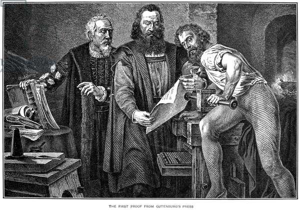 JOHANN GUTENBERG ( c.1400- c.1468). German printer. Line engraving, 19th century.