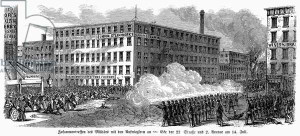 NEW YORK: DRAFT RIOTS 1863 The military firing on the mob at 22nd Street and Second Avenue during the New York City Draft Riots of 13-16 July 1863. Contemporary engraving.