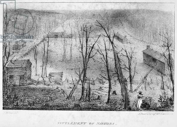 SETTLEMENT OF NASHOBA Lithograph illustration, 1832, from the first American edition of Mrs. Frances Trollope's 'Domestic Manners of the Americans.'
