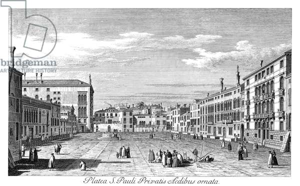 VENICE: CAMPO SAN POLO Campo San Polo in Venice, Italy, with Palazzo Corner Mocenigo in the left background. Engraving, 1735, by Antonio Visentini after Canaletto.
