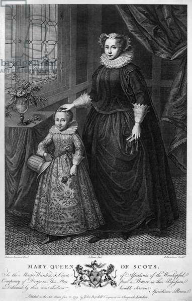 MARY, QUEEN OF SCOTS Mary Stuart, Queen of Scotland, 1542-1567. With her son, the future James I of Scotland. Copper engraving by Francesco Bartolozzi, 1779, after a painting.