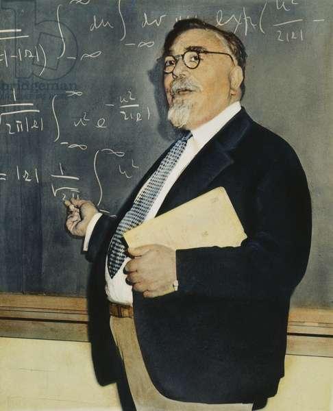 NORBERT WIENER (1894-1964) American mathematician: oil over a photograph, n.d.