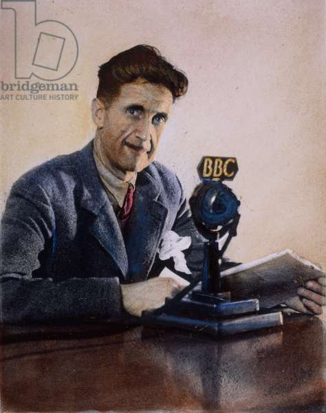 GEORGE ORWELL (1903-1950) English author. Orwell broadcasting over BBC in London: oil over a photograph, 1943.