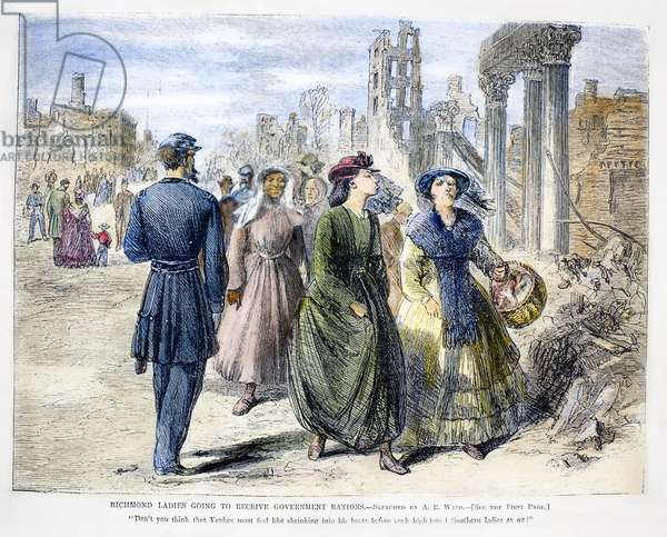 CIVIL WAR: RICHMOND, 1865 Ladies of Richmond, Virginia, passing a Union soldier on their way to receive government rations following the defeat of the Confederacy, 1865. Contemporary American wood engraving.