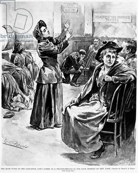 SALVATION ARMY, 1894 'The slum work of the Salvation Army - scene at prayer-service in the slum district of New York.' American newspaper illustration, 1894.
