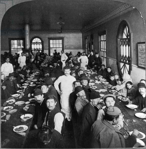 ELLIS ISLAND: DINING HALL Dining hall for immigrants awaiting admission to America. Stereograph, 1907.