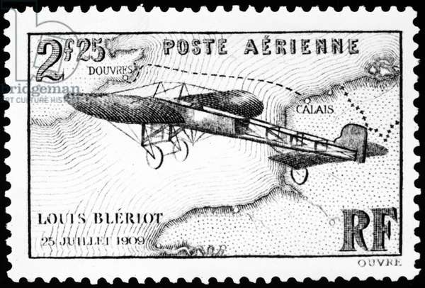 POSTAGE STAMP: BLERIOT French postage stamp honoring inventor and engineer Louis Bleriot's flight across the English channel in 1909.