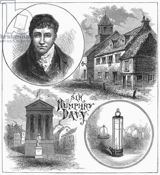 SIR HUMPHRY DAVY (1778-1829) English chemist. Davy pictured with the miner's safety lamp he invented in 1815 (bottom right). Wood engraving, 19th century.