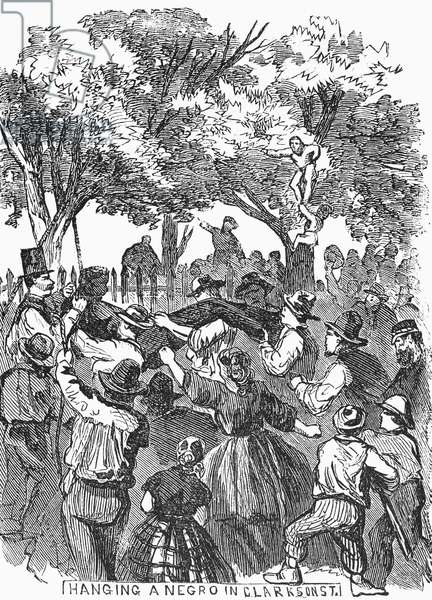 CIVIL WAR: DRAFT RIOTS The hanging of a black man in Clarkson Street during the New York City Draft Riots of 13-16 July 1863. Contemporary American wood engraving.