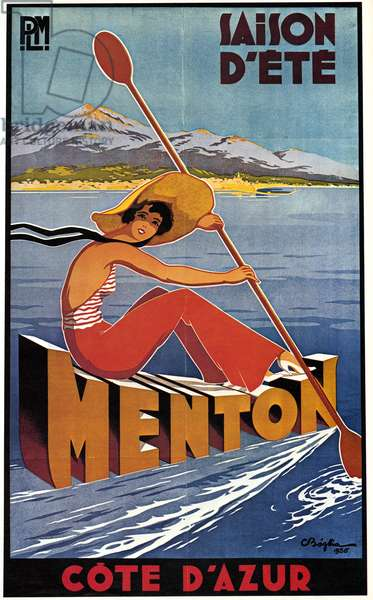 POSTER: CODE D'AZUR, 1935 French poster advertising summer activities at Menton, Cote d'Azur. Lithograph, 1935.