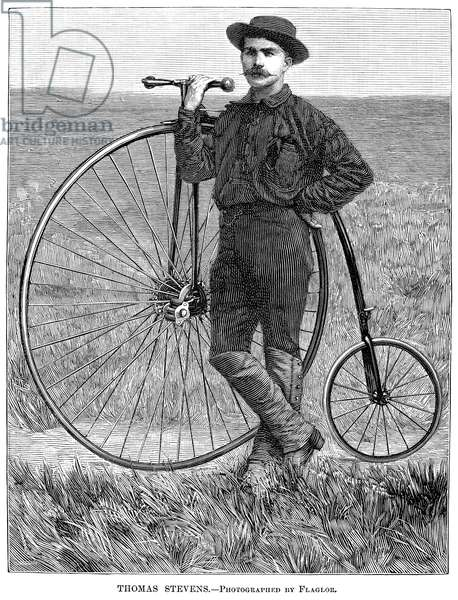 THOMAS STEVENS, 1884 American bicyclist, Thomas Stevens, who cycled from San Francisco, California, to Boston, Massachusettes, in an attempt to bicycle around the world. Wood engraving from an American newspaper of 1884.