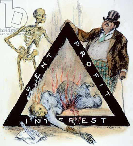 TRIANGLE FACTORY FIRE 'In Memoriam - The Real Triangle'. Contemporary cartoon comment by John Sloan on the fire in The Triangle Shirtwaist Factory, New York City, 25 March 1911, in which 145 workers, mostly young women, perished.
