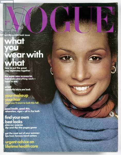 VOGUE MAGAZINE, 1974 Cover of the August 1974 issue of the American edition of 'Vogue' magazine, the first to feature an African American model (Beverly Johnson).