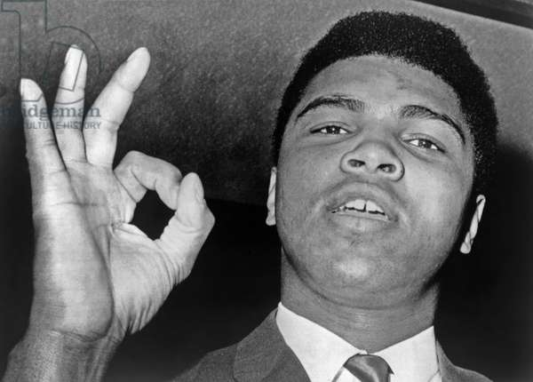 MUHAMMAD ALI (1942-2016) Né Cassius Clay. American heavyweight boxer. Photographed leaving the Boston City Hospital, 1965.