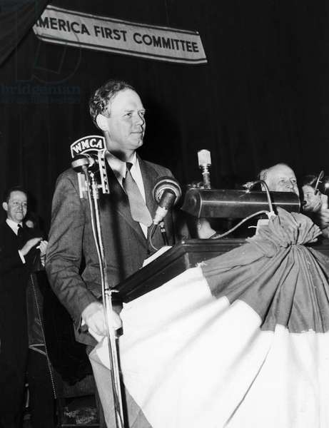 CHARLES LINDBERGH (1902-1974). American aviator. Lindbergh speaking at an America First Committee meeting in 1941.