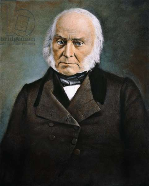 JOHN QUINCY ADAMS (1767-1848). 6th President of the United States. Oil over a daquerrotype, c.1845.