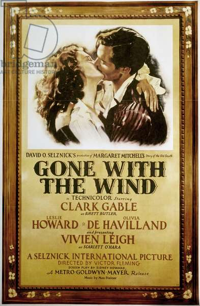 GONE WITH THE WIND, 1939 American poster, 1939, featuring Vivien Leigh and Clark Gable, for the film 'Gone with the Wind' after the novel by Margaret Mitchell.