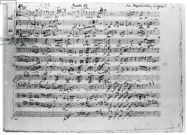 MOZART: QUARTET IN C MAJOR The beginning of the autograph manuscript of Wolfgang Amadeus Mozart's 'Quartet in C Major' ('The Dissonance'), K. 465, completed in January 1785.