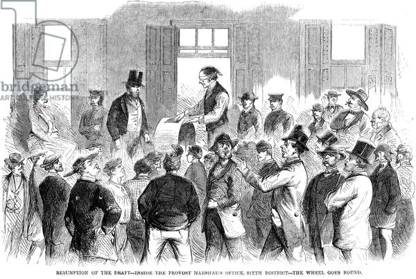 NEW YORK: MILITARY DRAFT The resumption of the draft in New York City on 19 August 1863, following the Draft Riots of 13-16 July 1863. Contemporary American engraving.