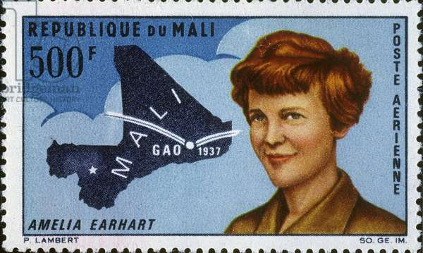 AMELIA EARHART (1897-1937) American aviator. On a 1967 Mali postage stamp commemorating the 30th anniversary of her stop at Gao, West Africa.
