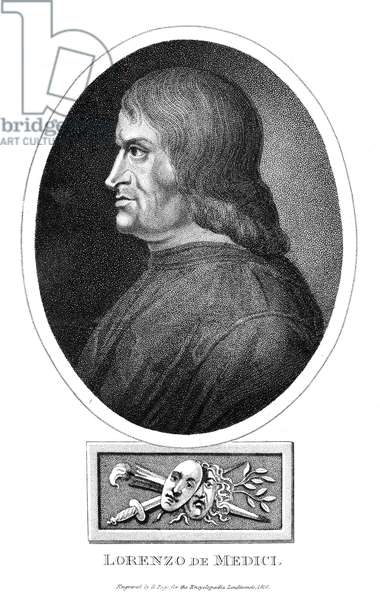 LORENZO DE MEDICI (1449-1492). Florentine statesman and ruler. Stipple engraving by R. Page, 1816.