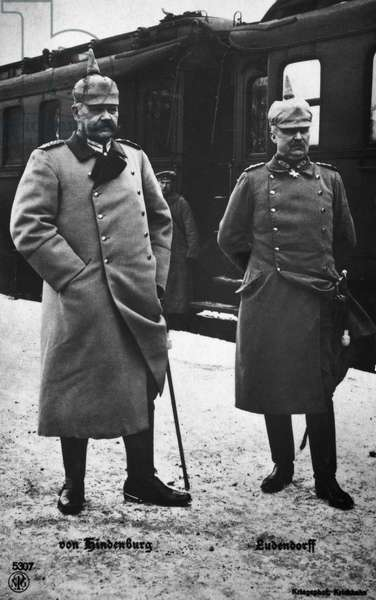 HINDENBURG & LUDENDORFF German generals Paul von Hindenburg (left) and Erich Ludendorff. Photographed during World War I.