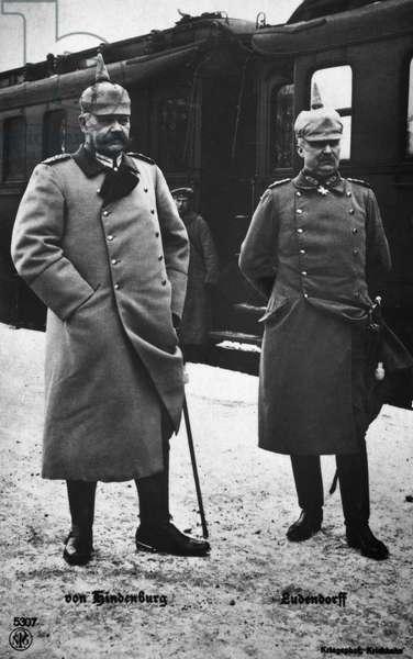 HINDENBURG & LUDENDORFF German generals Paul von Hindenburg (left) and Erich Ludendorff. Photographed during World War I.