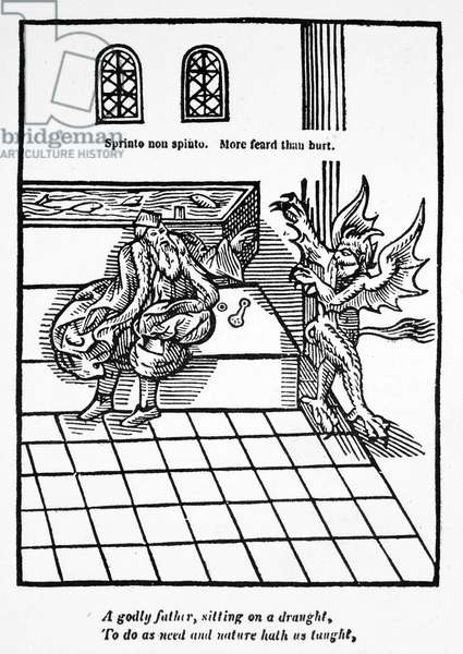 FIRST WATER-CLOSET, 1596 The first water-closet, invented by Sir John Harington (1561-1612). Woodcut from Harington's 'Metamorphosis of Ajax,' 1596, the publication which, along with other satires, led to his banishment from the court of his godmother, Queen Elizabeth I.