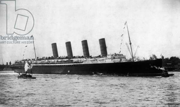 NEW YORK: LUSITANIA, 1907 The first appearance of the Cunard steamship 'Lusitania' at New York Harbor, 13 September 1907.