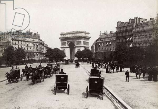 PARIS: ARC DE TRIOMPHE View of the Arc de Triomph from the Avenue de Bois de Boulogne. Photographed c.1900.