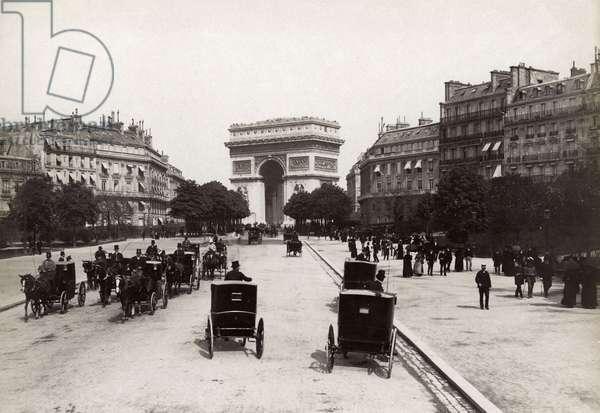 PARIS: ARC DE TRIOMPHE View of the Arc de Triomph from the Avenue de Bois de Boulogne. Photographed c.1900.