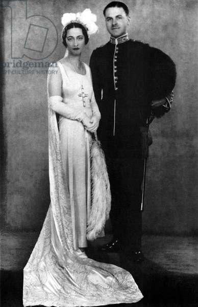 DUCHESS OF WINDSOR (1896-1986). Née Bessie Wallis Warfield. Wedding portrait with her second husband, Ernest Simpson. Photograph, 1928.