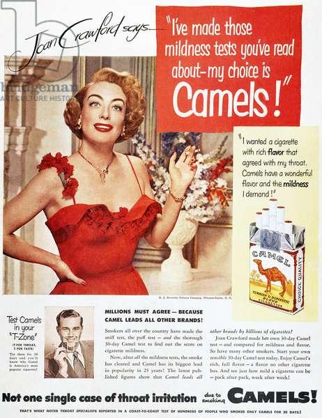 CAMEL CIGARETTE AD, 1951 Actress Joan Crawford endorsing Camel cigarettes. American magazine advertisement, 1951.