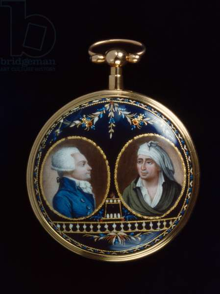 MAXIMILIEN ROBESPIERRE  (1758-1794). Leading figure of the French Revolution. Depicted on a gold and enamel watch (left), with Jean-Paul Marat (right). Swiss, 1793-94.
