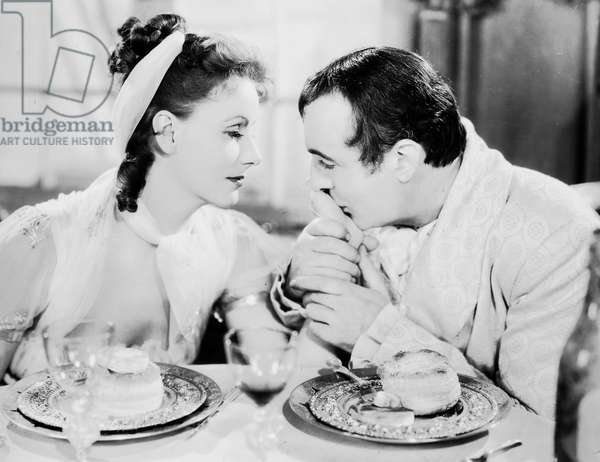 CONQUEST, 1937 Greta Garbo (Marie Walewska) and Charles Boyer (Napoleon) in a scene from the film.