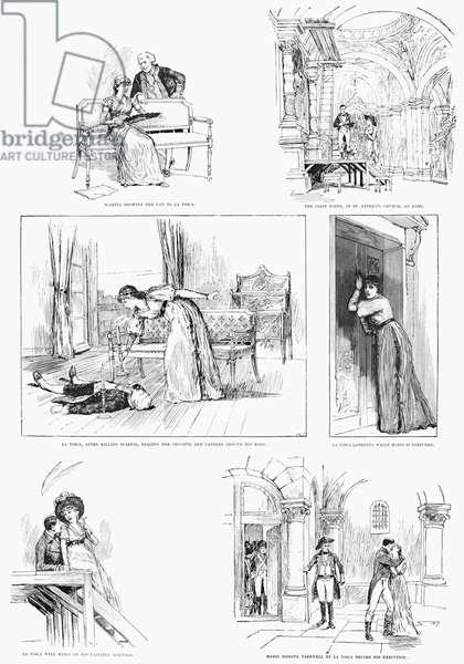 THEATRE: LA TOSCA, 1887 Scenes from the play, 'La Tosca,' by Victorien Sardou, starring Sarah Bernhardt. Engraving, English, 1887.