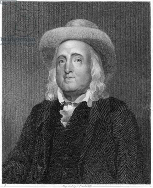 JEREMY BENTHAM (1748-1832) English jurist and philosopher. Line and stipple engraving, English, 1837.